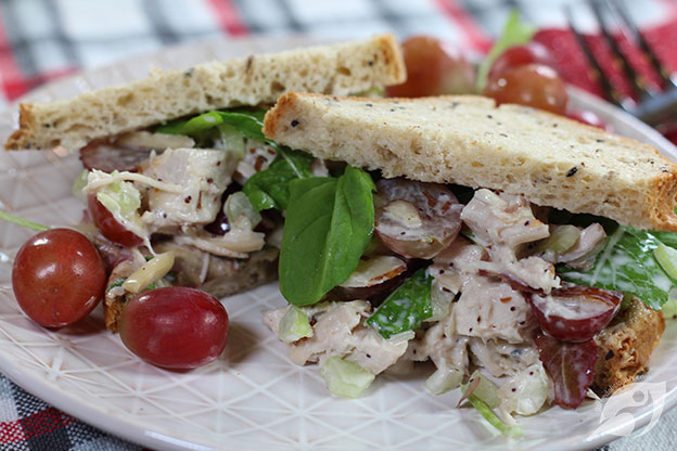 Cranberry Chicken (Turkey) Salad served on rye bread