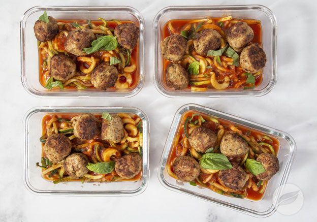 Sausage Meatballs over Zoodles