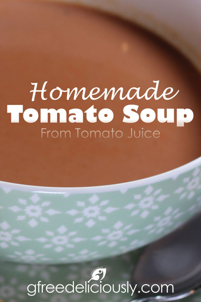 Closeup bowl of Tomato Soup Pinterest share graphic 800x1200px