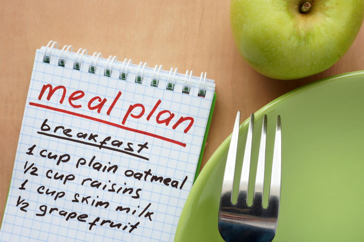 """words """"meal plan"""" on tablet with apple, plate and fork on the right"""