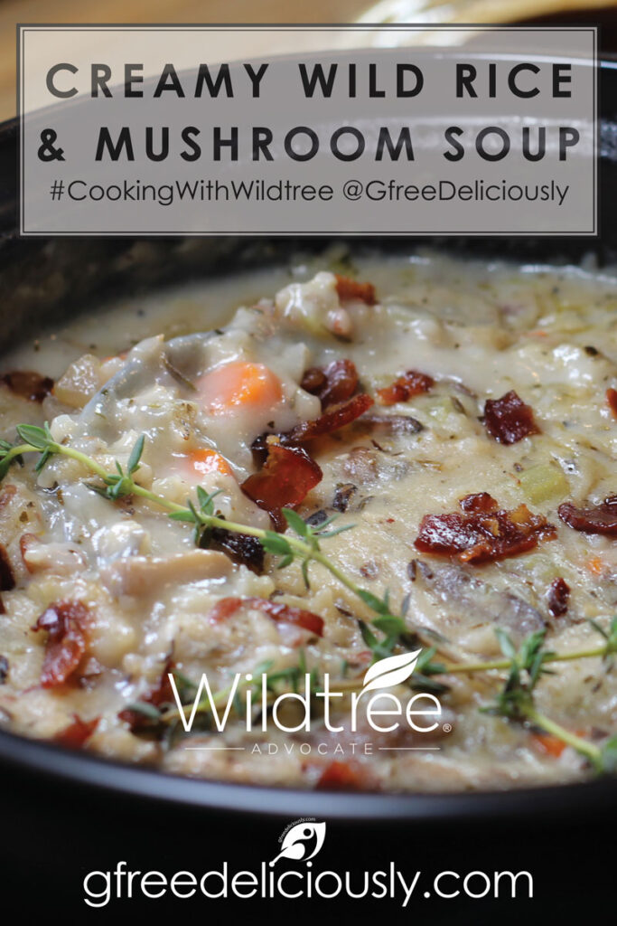 Closeup Pinterest share image of Creamy Wild Rice & Mushroom Soup