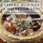 Closeup social share image of Creamy Wild Rice & Mushroom Soup in a bowl