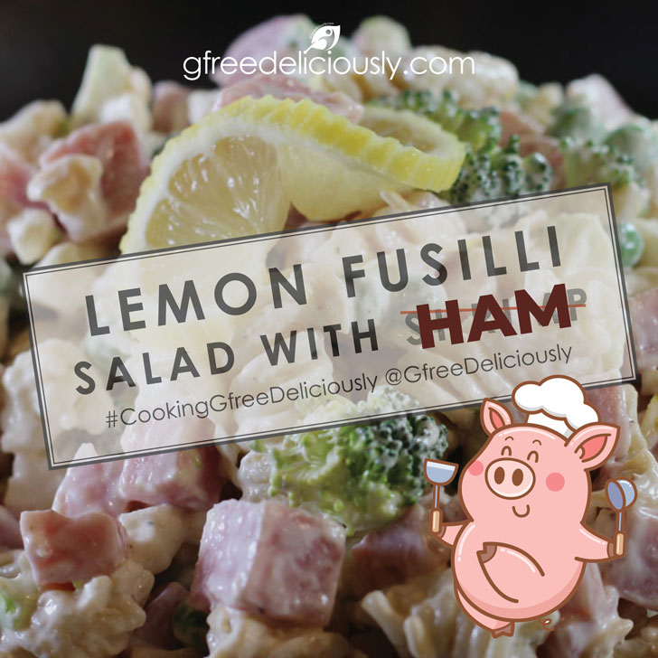 Lemon Fusilli Salad with Ham background with cartoon pig two thumbs up social sharing image 728x728 px