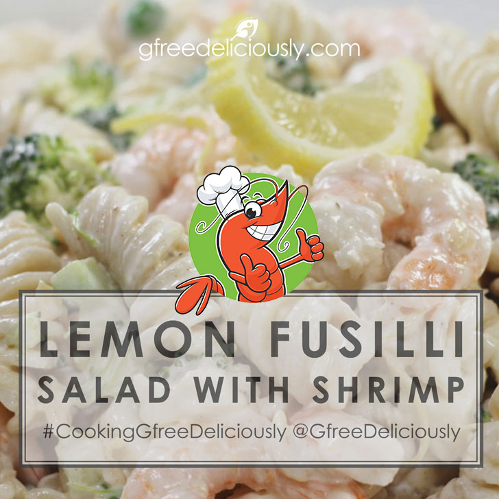 Lemon Fusilli Salad with Shrimp background with cartoon shrimp two thumbs up social sharing image 728x728 px