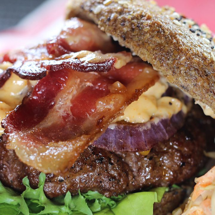 Southwest Rodeo Burgers with beef, bacon, cheese, onion and spicy rodeo aioli sauce