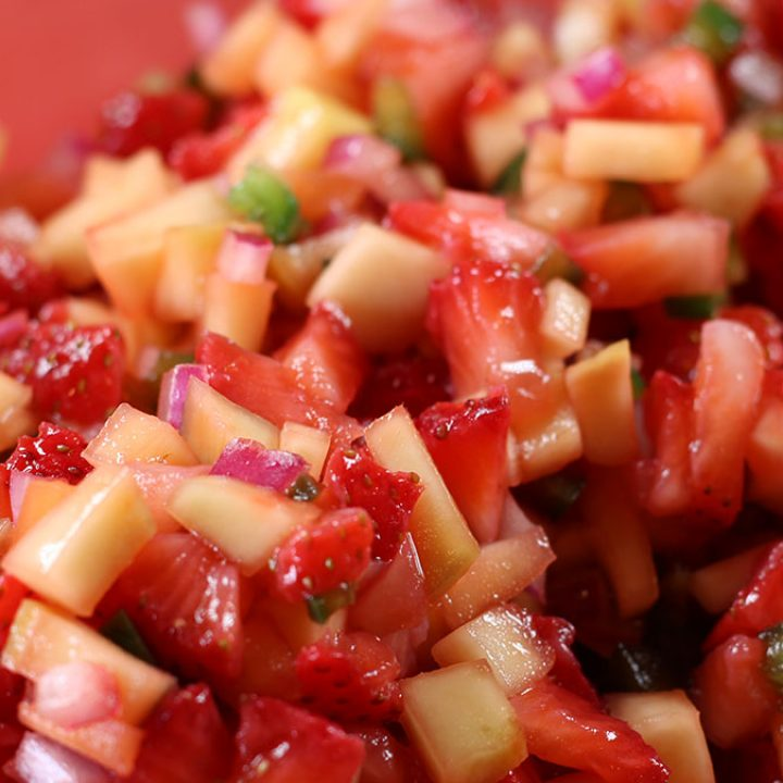 Strawberry Mango Summer Salsa closeup photo