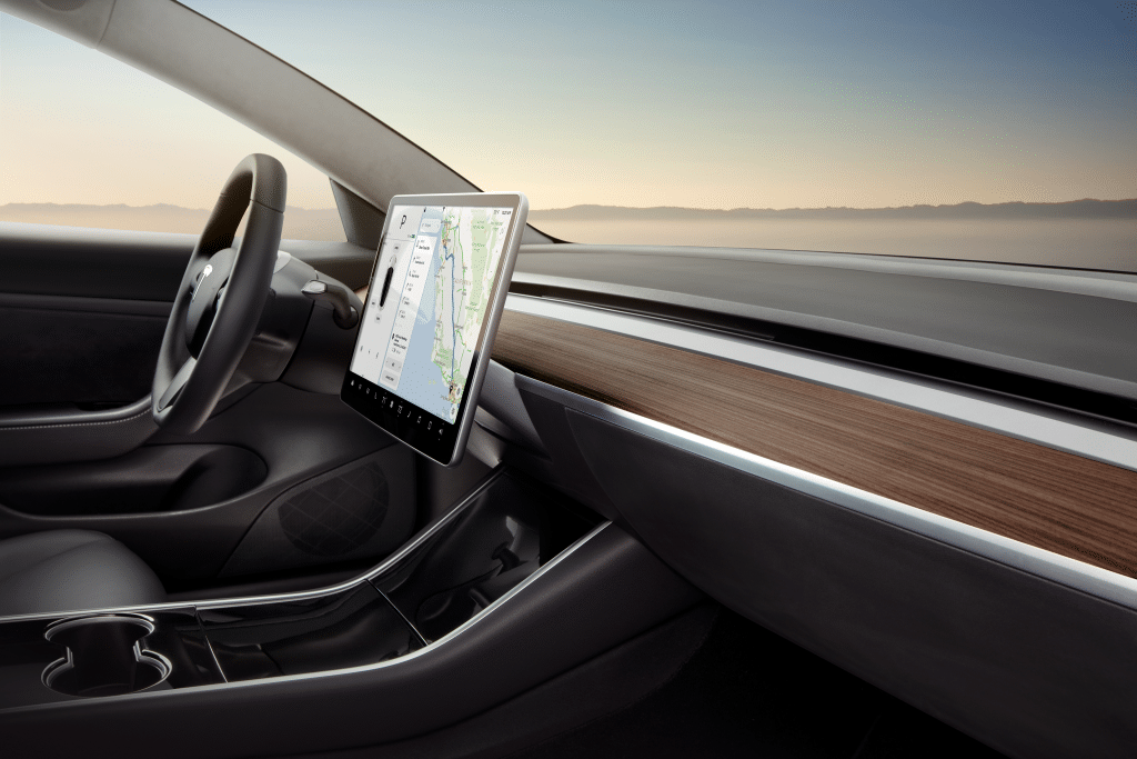 The interior of a Tesla Model 3.