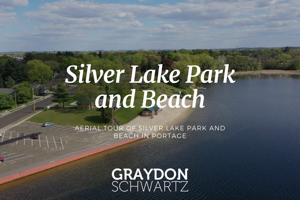 Aerial Tour of Silver Lake Park and Beach in Portage
