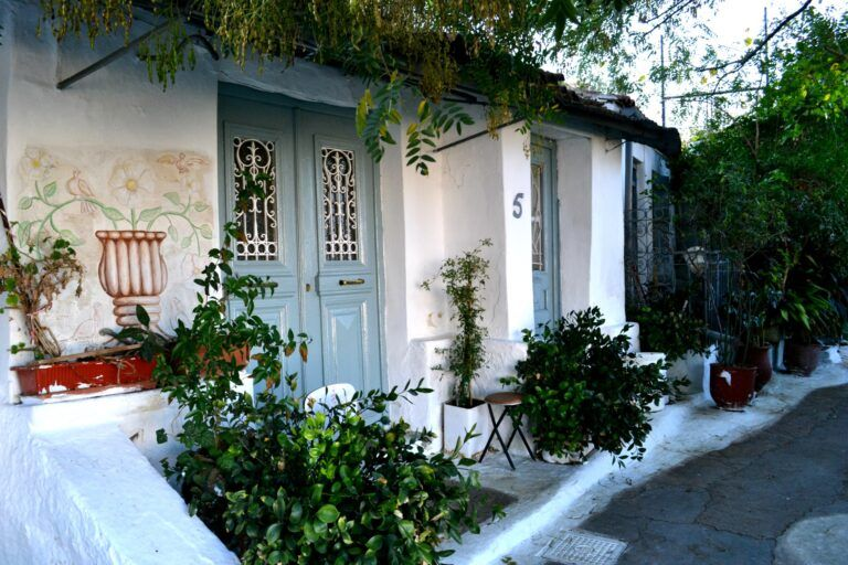 A walk at the picturesque district of Anafiotika below the Acropolis of Athens