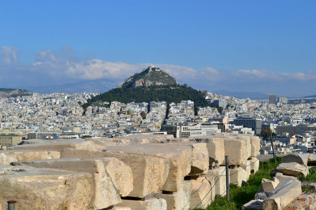 The hill of Lycabettus from the Acropolis -At the Acropolis of Athens
