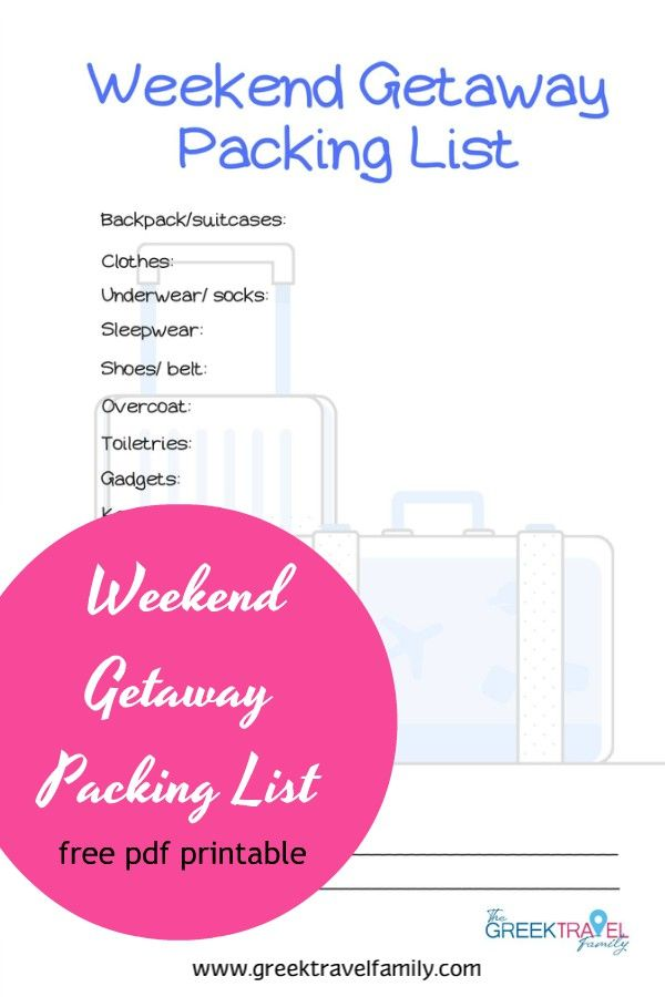 Weekend getaway packing list printable