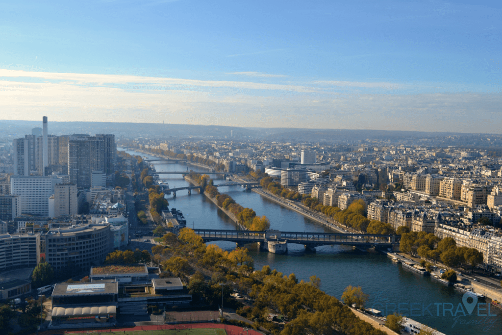 The view from the Eiffel Tower in Paris. Travellling with kids