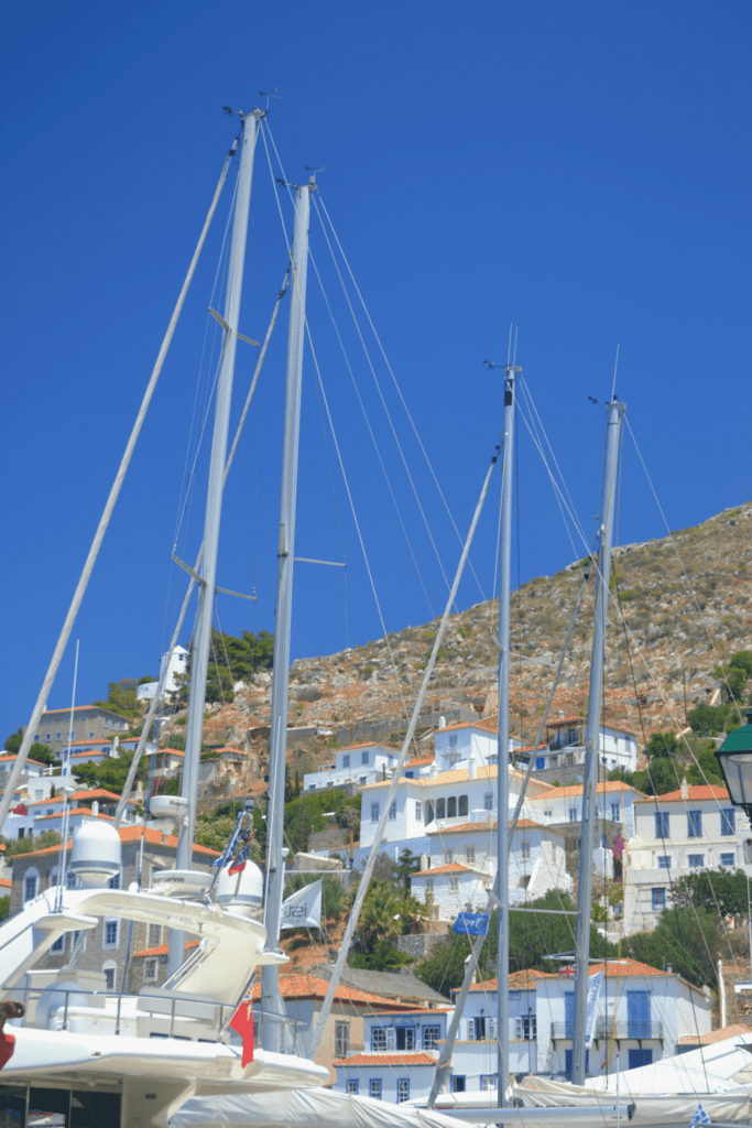 Family holidays in Hydra with kids. View of the port