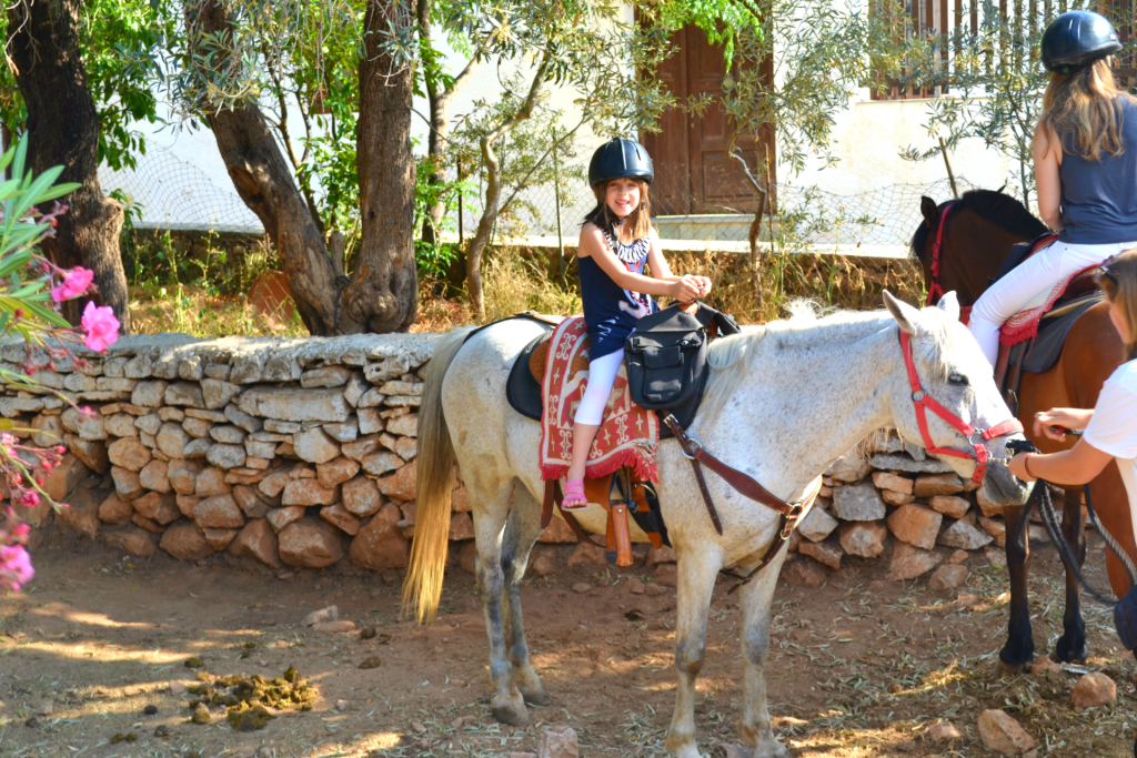 Family holidays in hydra with kids. Horse riding with Harriet's horses