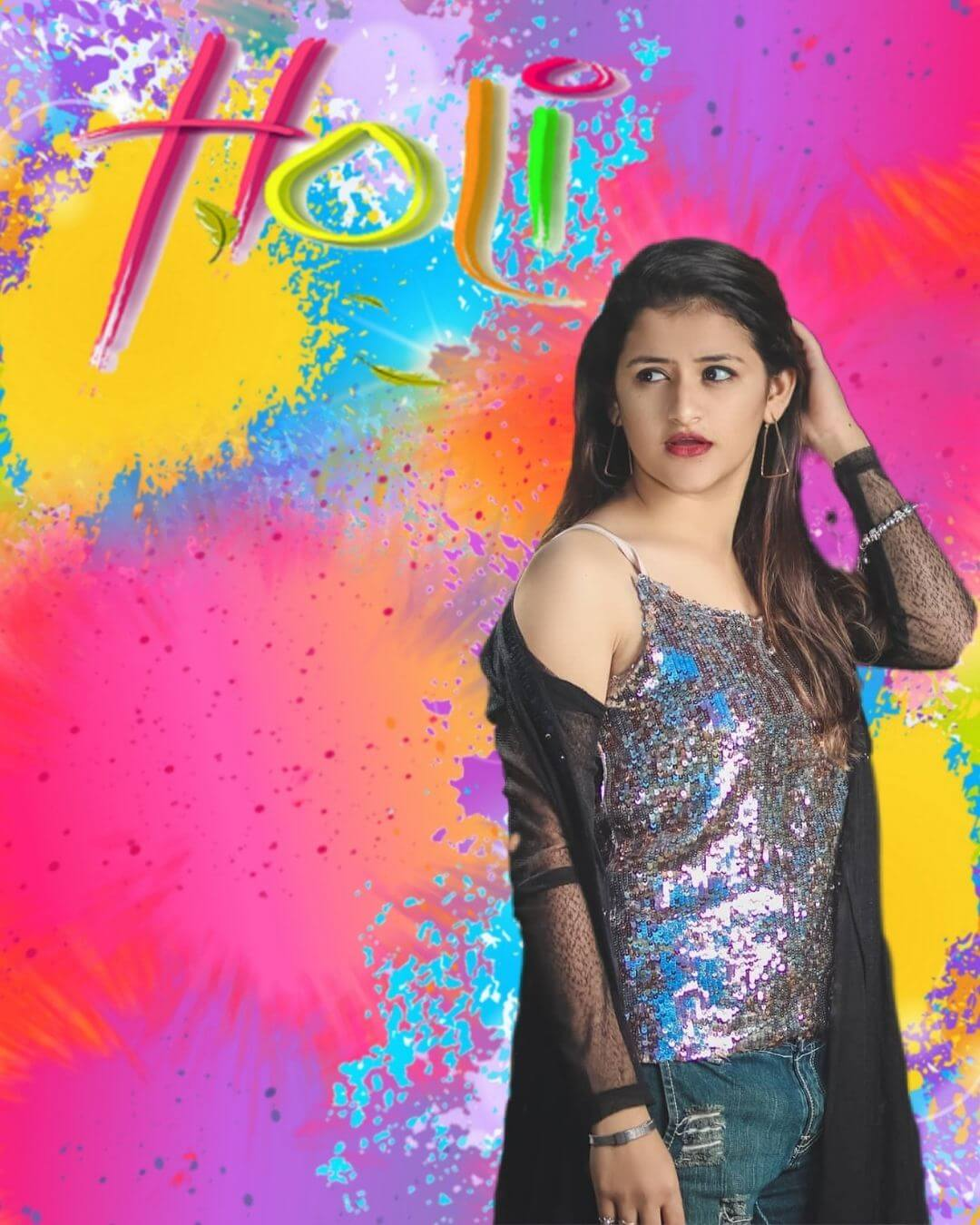 holi background hd with girl