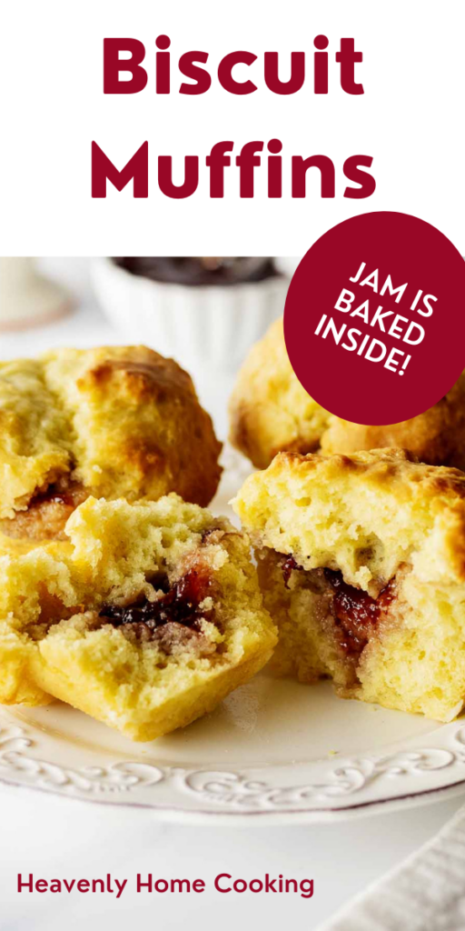 Biscuit muffins on a white plate with text overlay for Pinterest