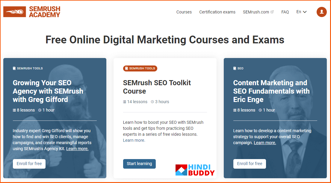 semrush online marketing academy and exams