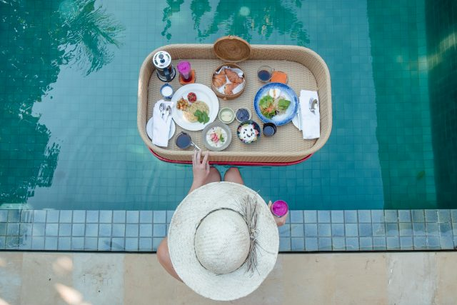 Food at the pool at The Komaneka at Keramas Bali