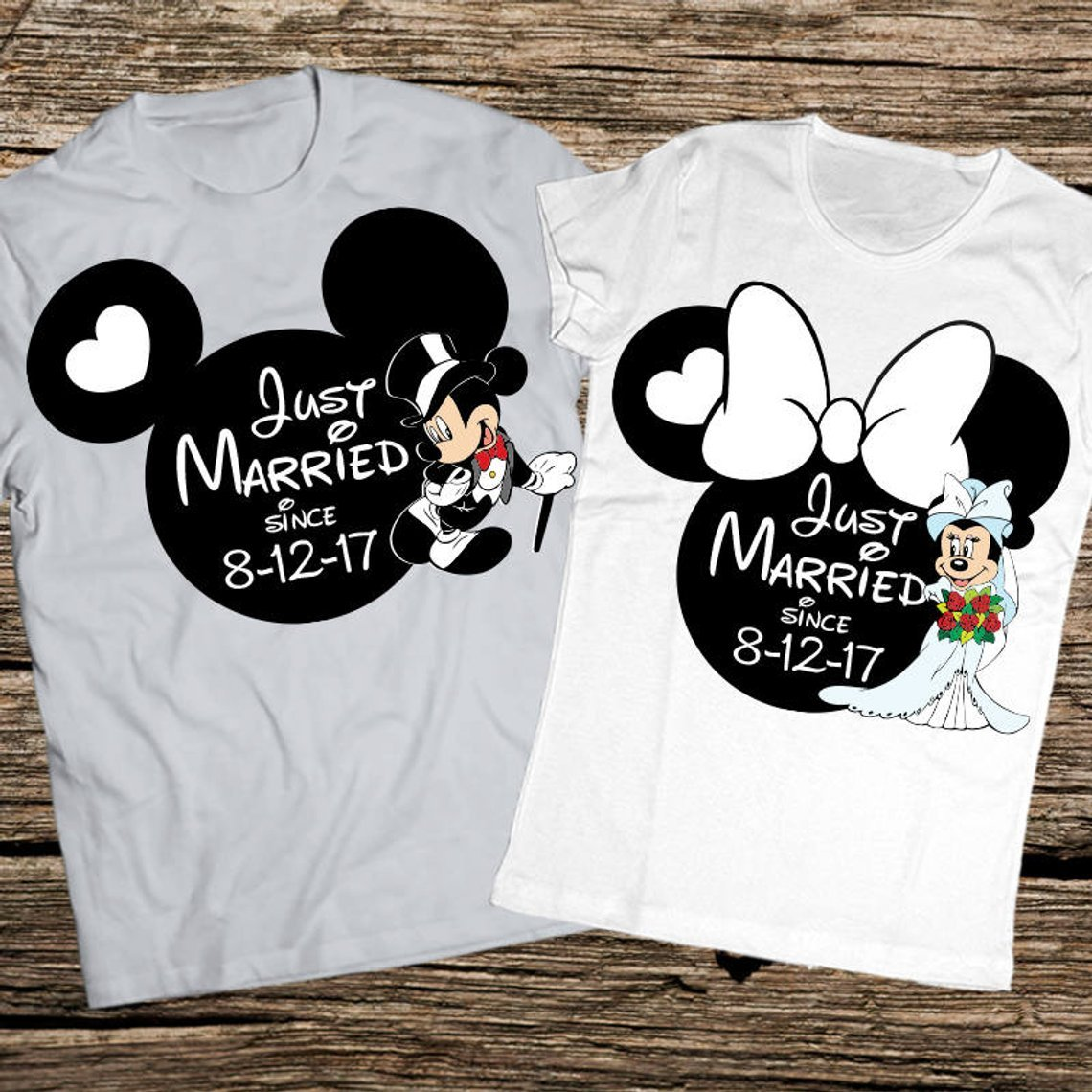 Just married wedding date disney couple shirt