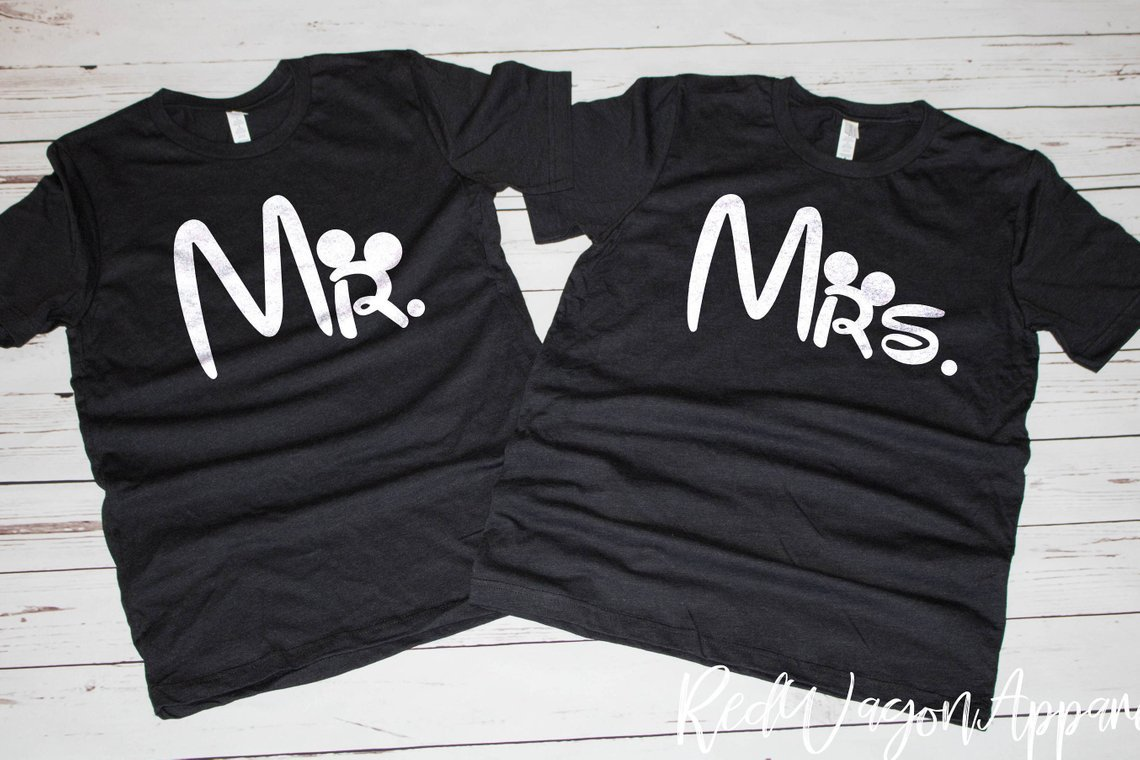 Bride and groom matching Disney castle tees