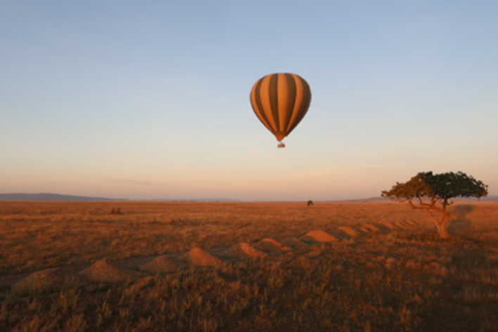 romantic morning hot air balloon ride in Africa