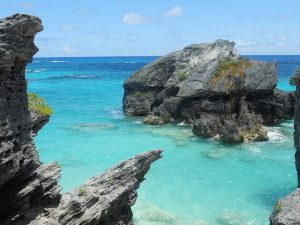 the coast of bermuda, clear waters with rocks, perfect for a honeymoon