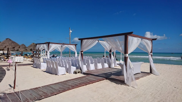 beachfront wedding setup in Mexico