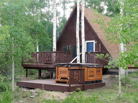 2 bedroom a frame cabin with hot tub in Fairplay Colorado