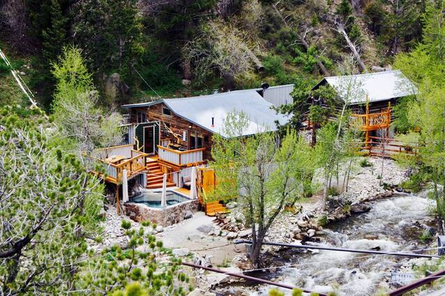 2 bedroom cabin on a stream with natural spring fed hot tub