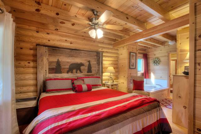 Snuggle up cabin bedroom