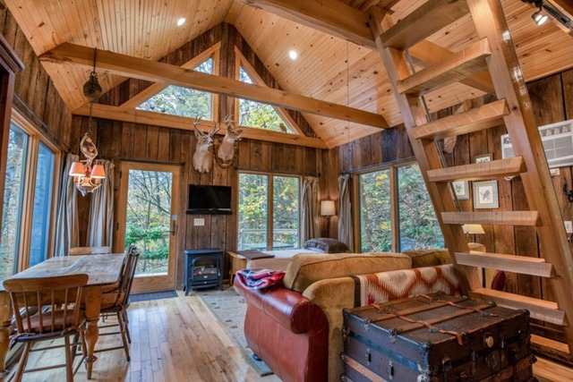 Eagle Ridge Cabin in Hocking Hills interior with mounted deer above wooden stove lots of windows