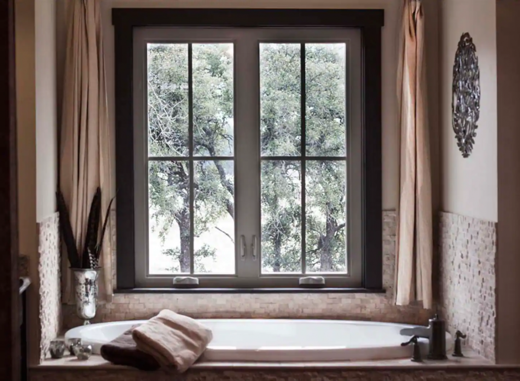 Bathtub from cabin with view