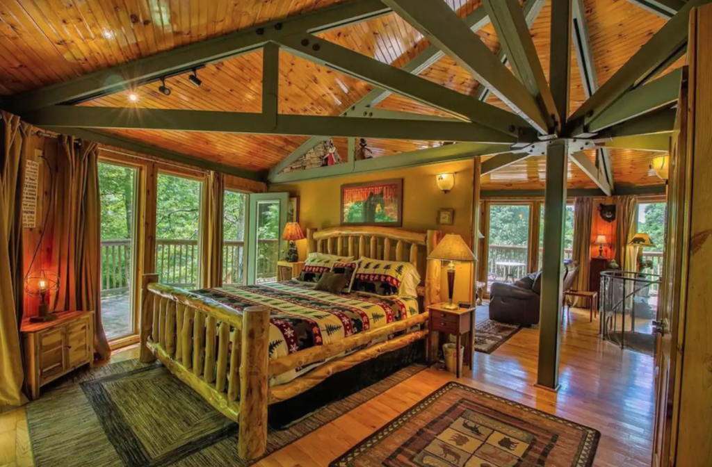treehouse cabin in boone bedroom