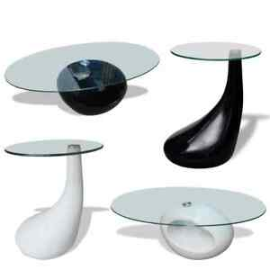 Vidaxl Coffee Table Fiberglass Glass Top High Gloss White Black