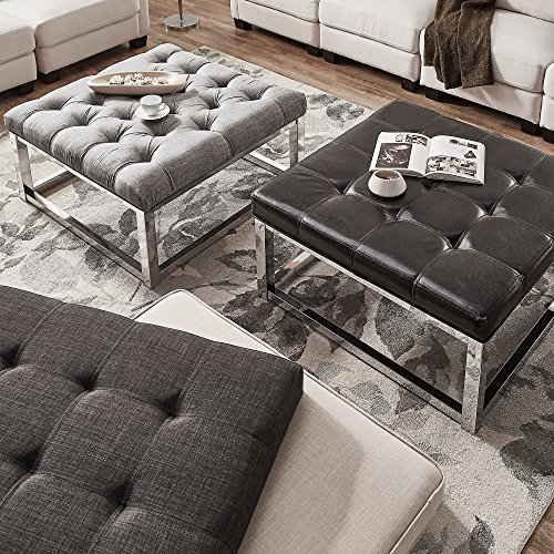 Inspire Q Solene Square Base Ottoman Coffee Table Chrome By