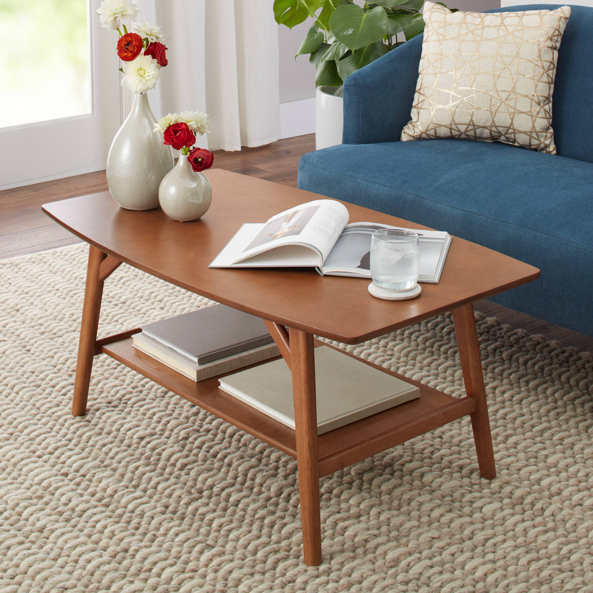 Better Homes Gardens Reed Mid Century Modern Coffee Table Pecan