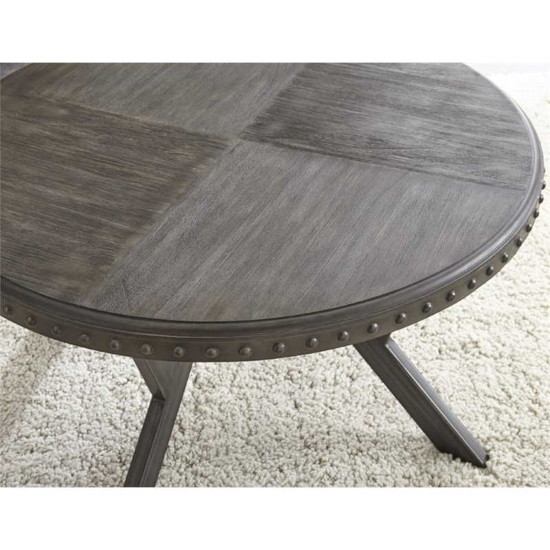 Bowery Hill Round Coffee Table In Weathered Gray Walmart Canada