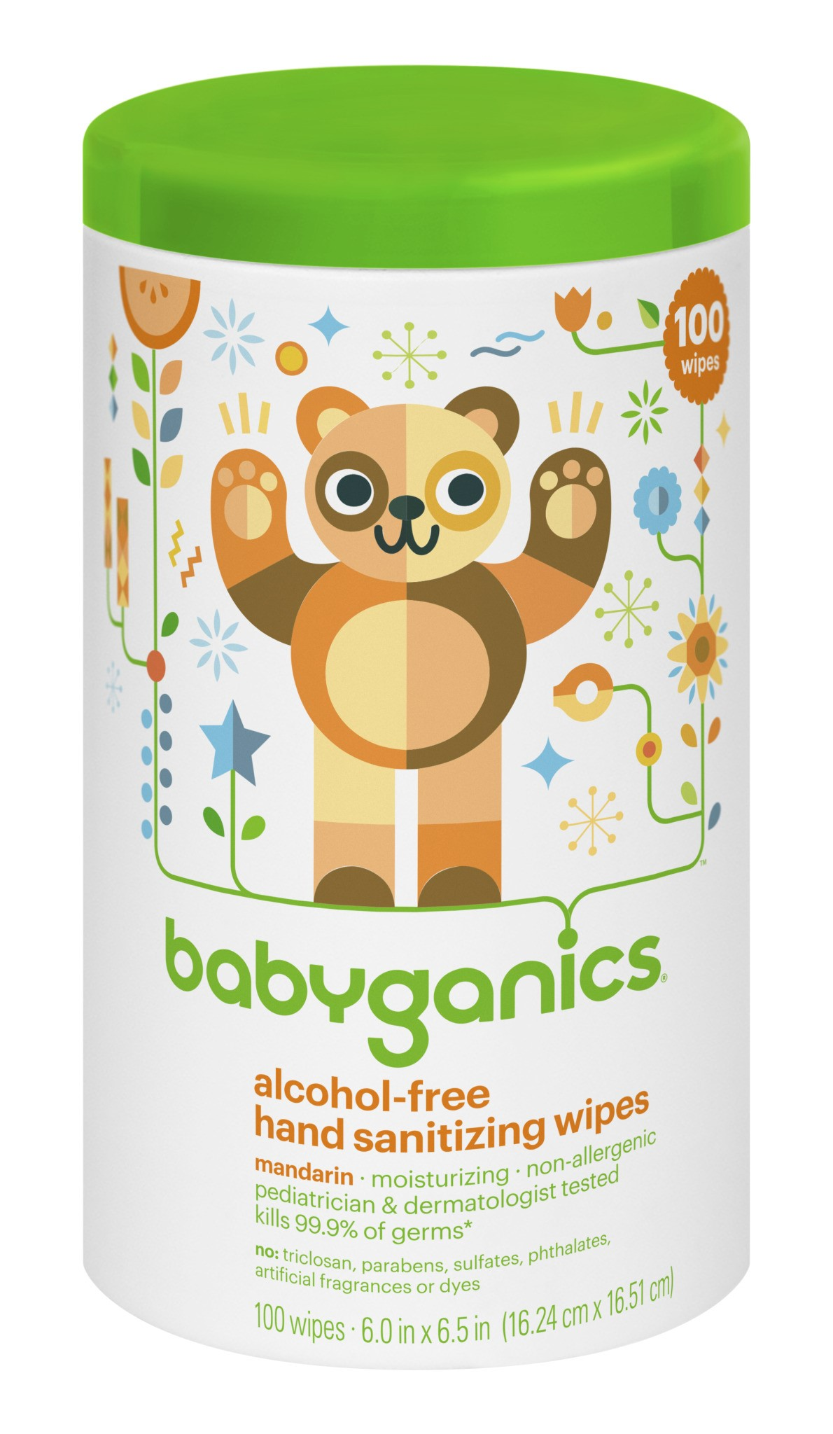 Babyganics Alcohol Free Hand Sanitizing Wipes Mandarin 100 Ct