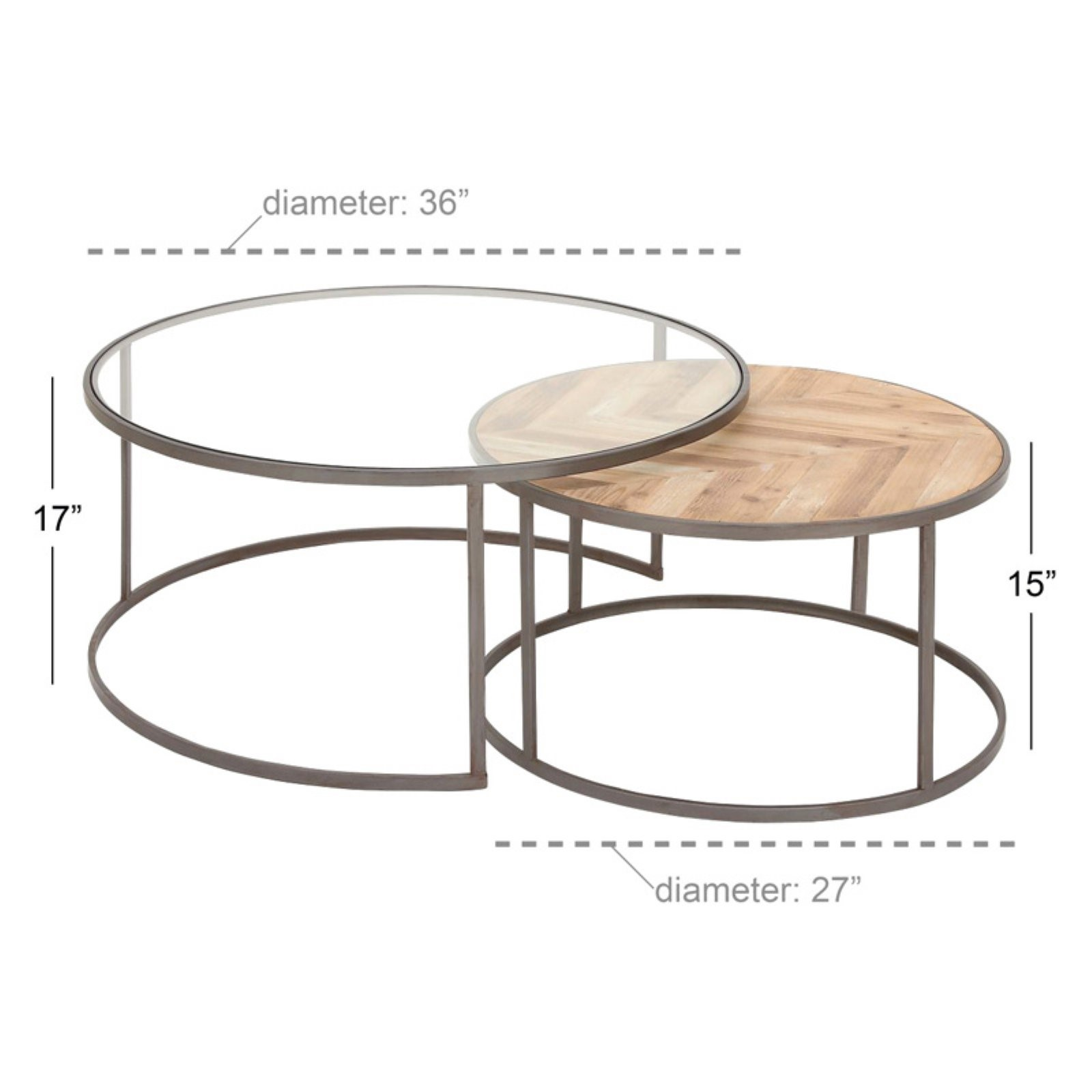 Decmode Large Contemporary Metal Glass Wood Nesting Round