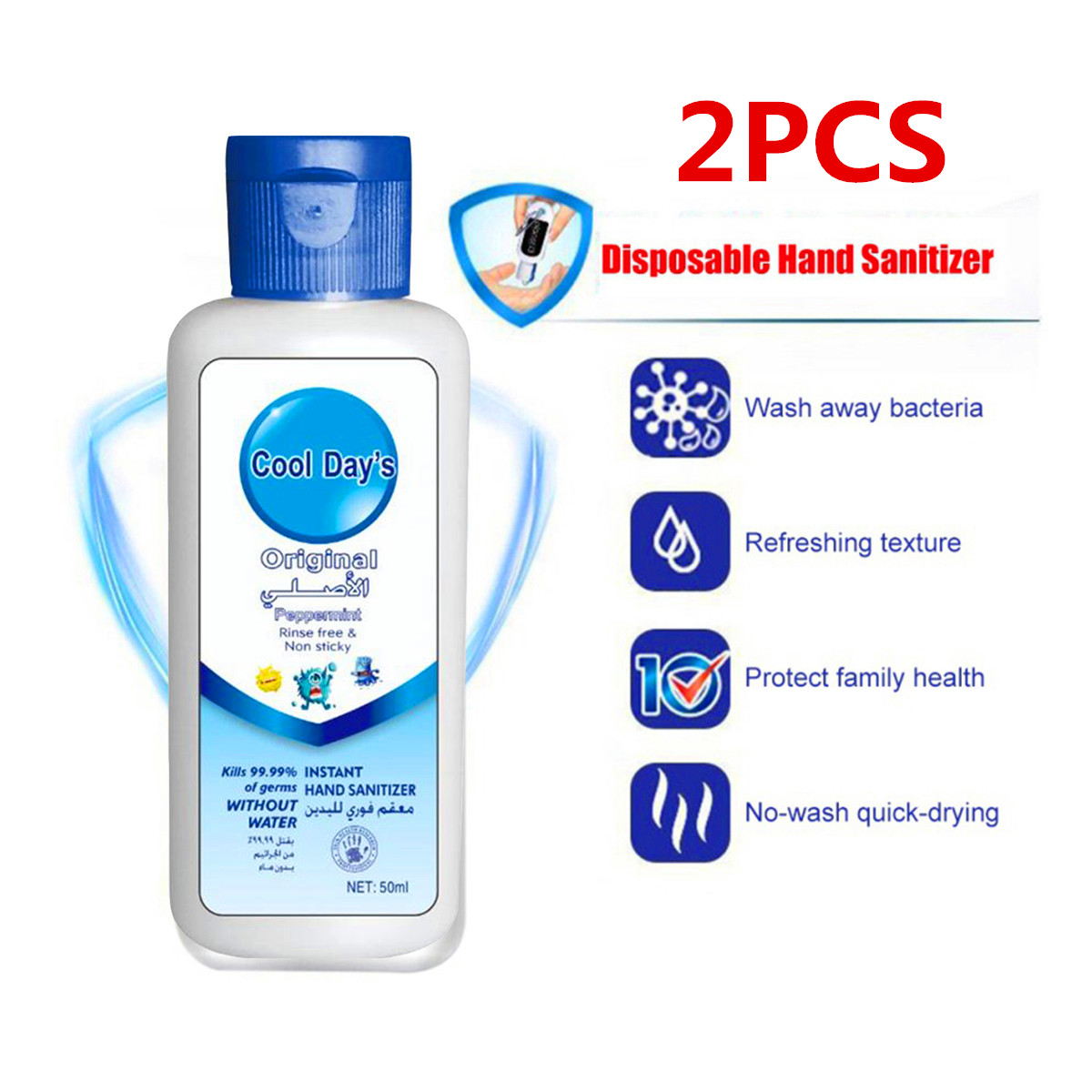 Portable 50ml Hand Sanitizer Medical Moisturizing Antibacterial