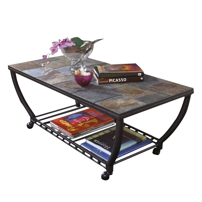 Bowery Hill Slate Tile Rectangular Coffee Table And Casters In