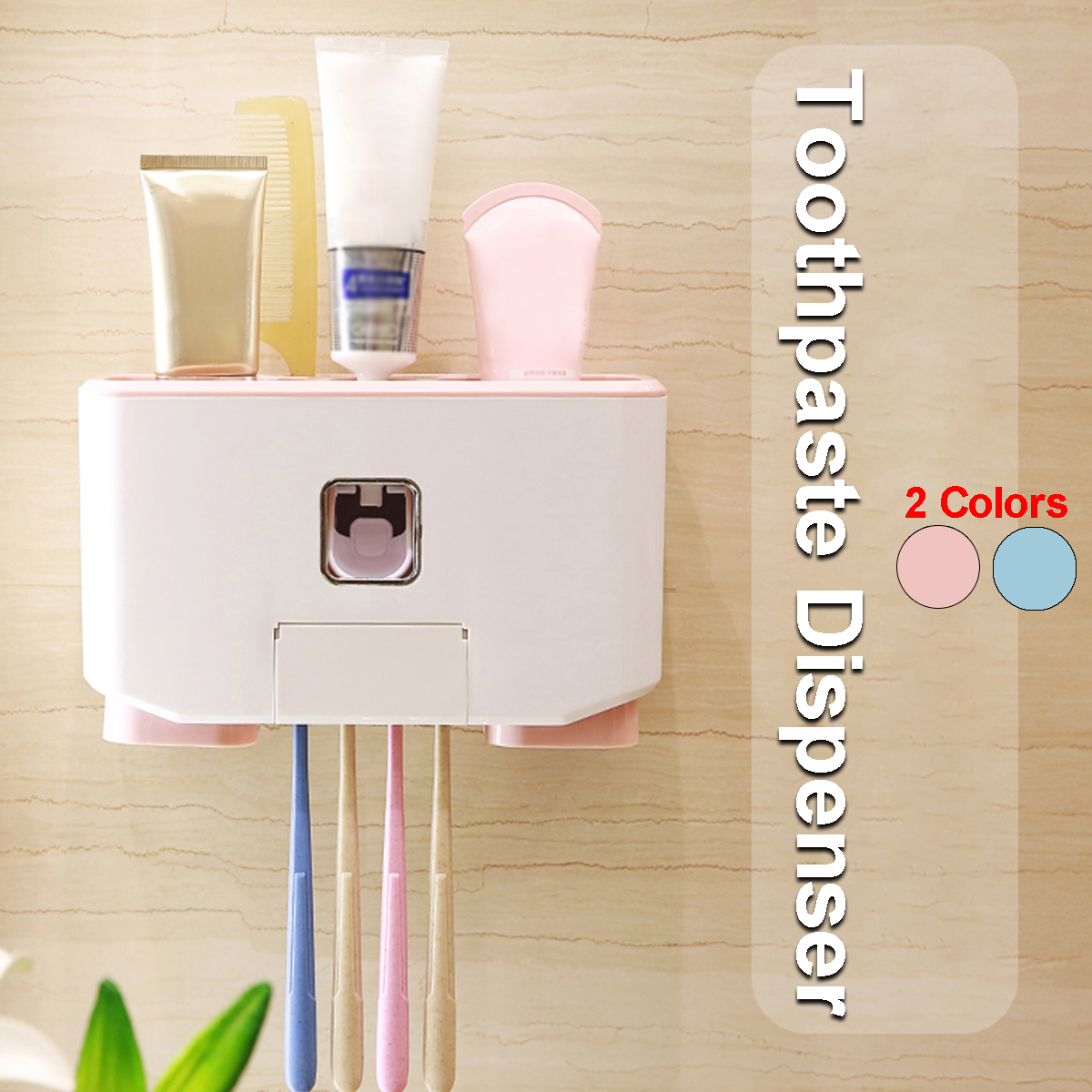 3types Automatic Toothpaste Dispenser Toothbrush Cup Holder Set