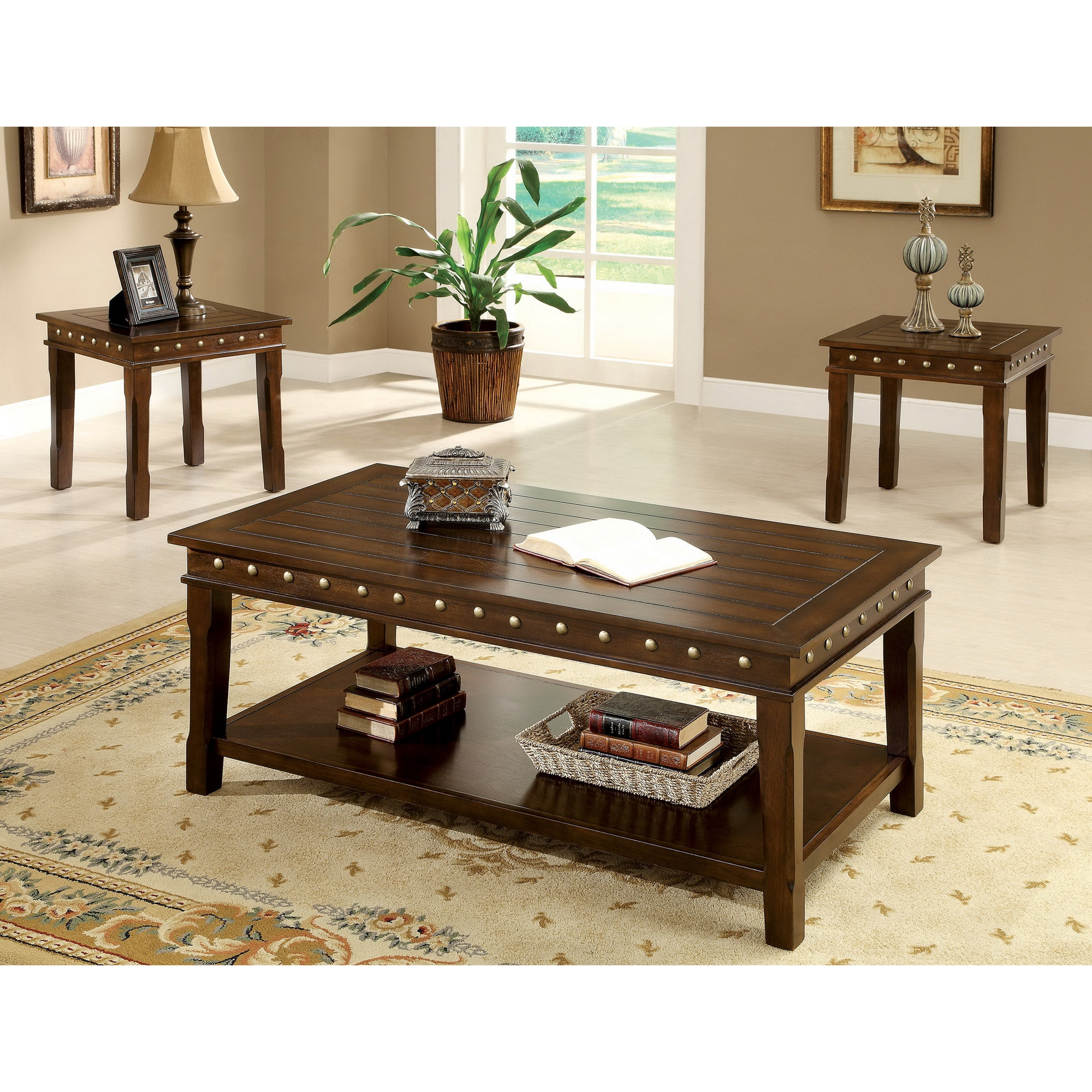 Furniture Of America Jiff Traditional Walnut 3 Piece Accent Table