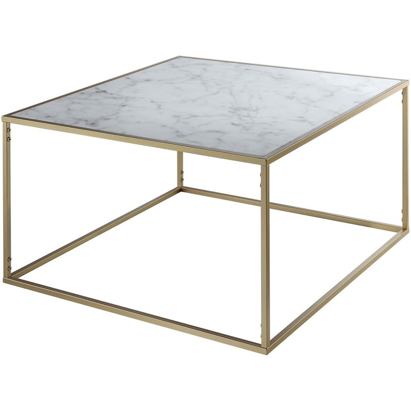 Pemberly Row Square Faux Marble Top Coffee Table Walmart