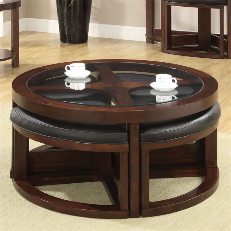 Furniture Of America Barker 5 Piece Coffee Table With Ottoman Set