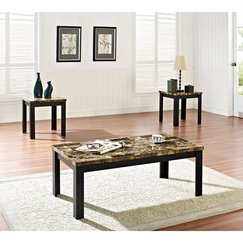 Acme 3 Piece Finely Coffee And End Table Set Dark Brown Faux