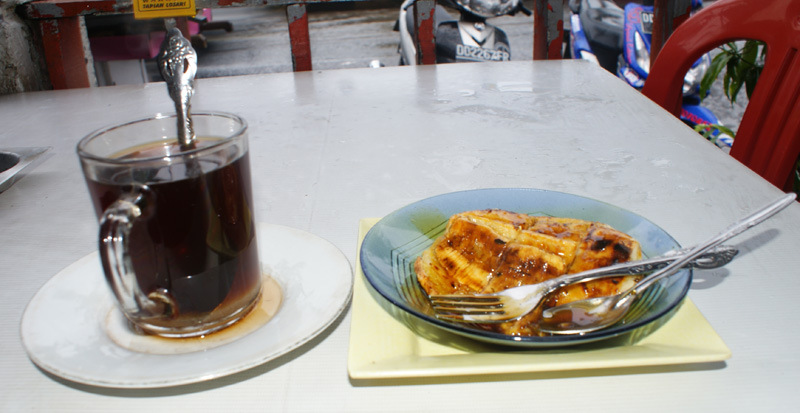A glass of warm tea and Pisang Epe is a perfect match )