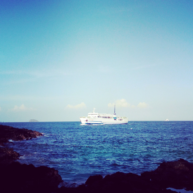 Bias Tugel Beach is close to Padang Bai Harbor, so sometimes you can see the ship like this