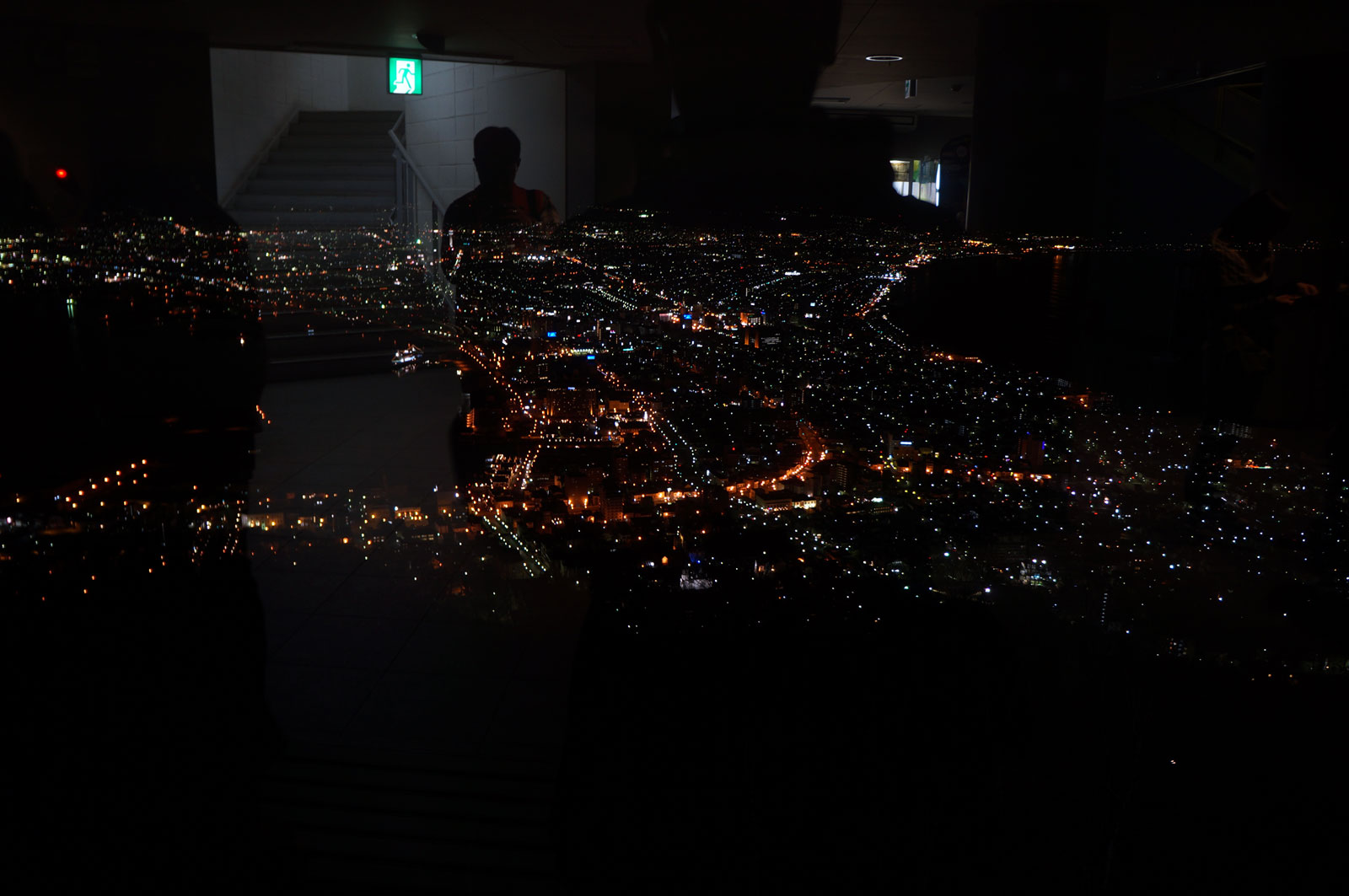 Hakodate city night view already seen beautiful even though I still inside the ropeway station that is located at the top of Hakodateyama.