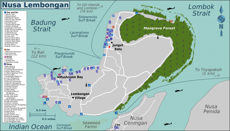 Nusa Lembongan point of view maps from wikitravel.
